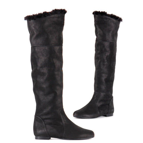 d0840757759 Small Size Ladies Black Fur Leather Knee High Boots Katarina By Pretty Small  Shoes