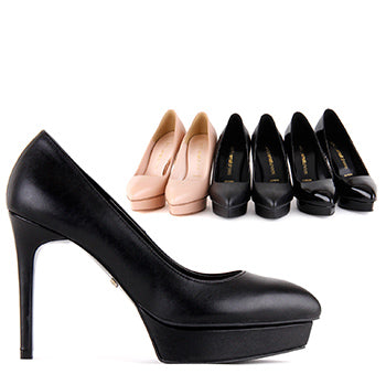 *YVONNE - high, black patent, 10.5/2.5cm heel, size UK 2