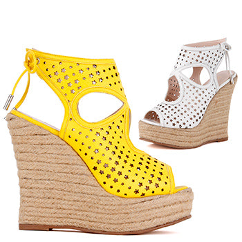 8335ef9ff9d0 Small size ladies yellow star cut out espadrille wedge sandals funkster by  Pretty Small Shoes