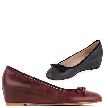 deb58cbbeff Small Size Ladies Soft Leather Wedge Heels Ballerina pumps Gonai by pretty  Small shoes