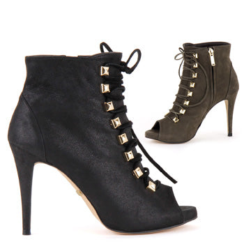 5eff9d557ac94 Small Size Womans Designer Style Hand Made High Lace Up Ankle Boots ...