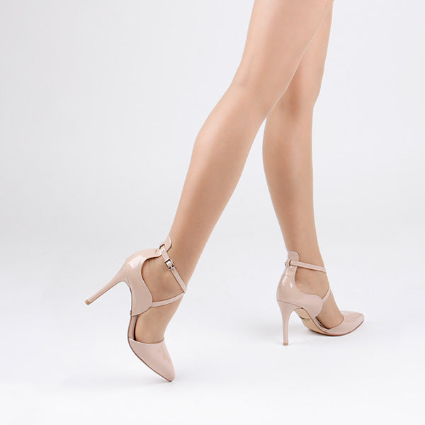 *PERFECTION -beige patent, 8cm, size UK 2.5