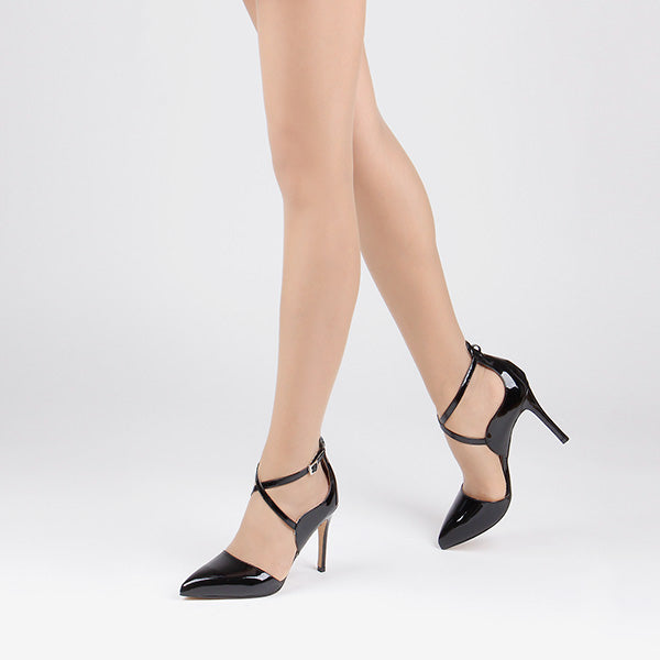 *PERFECTION -black patent, 10cm, size UK 3
