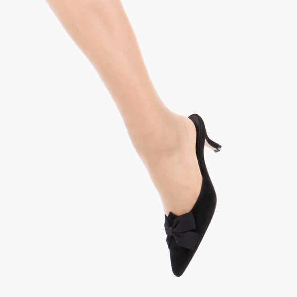 ad4959016e3 Petite Size Navy Silk Or Black Suede Mid Heel Mules by Pretty Small ...