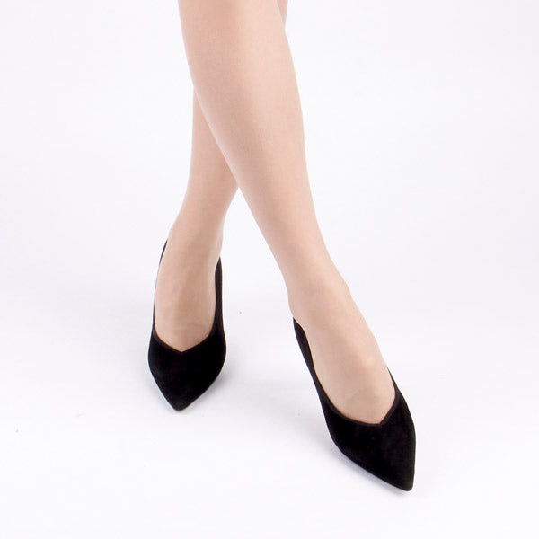 *TANZI - black suede, 8cm size UK 2