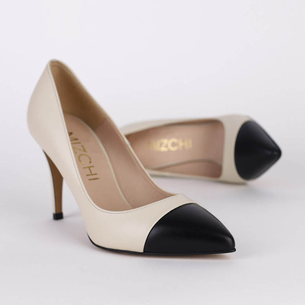 *LOSSINI - ivory/black, 9cm size UK 1