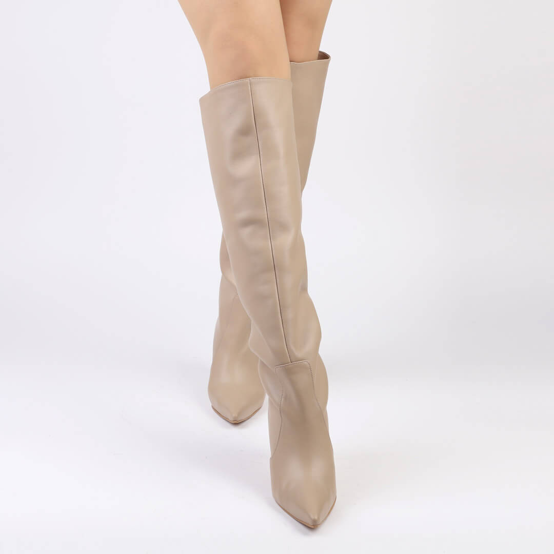 WOLLEN - leather long boots