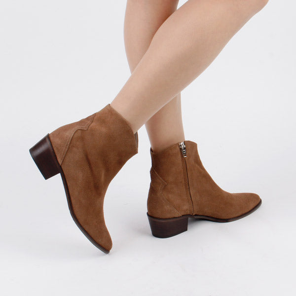 3d7a87207178 Petite Suede `Cowgirl` Ankle Boots by MIZCHI Pretty Small Shoes
