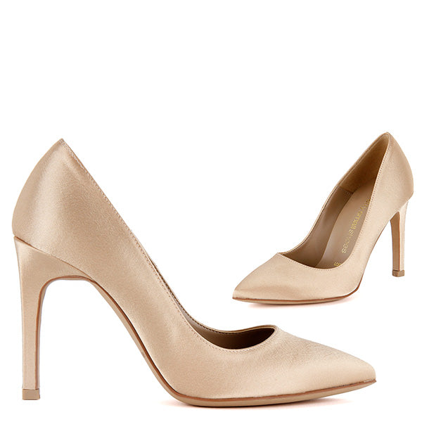 a47d83a1ed5 Petite Size Gold Satin Heels Budget Price - TIPO hand made - by Pretty  Small Shoes