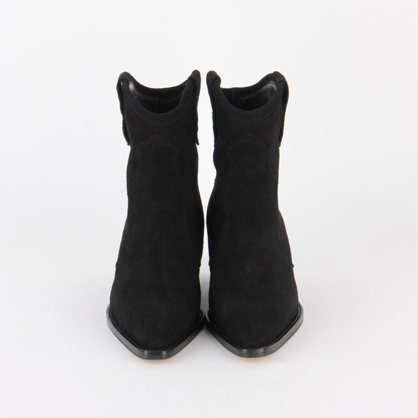 cd8f391ec381 Petite Size Black Suede Western Ankle Boots by MIZCHI Pretty Small Shoes