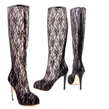 9436f1c34d01 Petite Sexy Lace Fabric Calf Boots Love Affair By Pretty Small Shoes