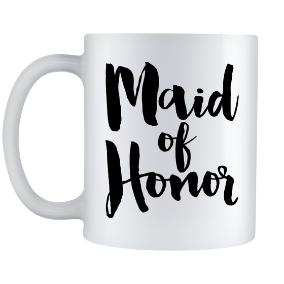 Maid Of Honor Coffee Mug - Will You Be My Maid Of Honor - Wedding Gift - 11oz White Ceramic Coffee Mug