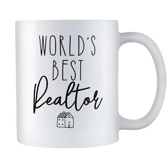 Realtor Coffee Mug - World's Best Realtor - Real Estate Agent Gift - 11oz White Ceramic Coffee Cup
