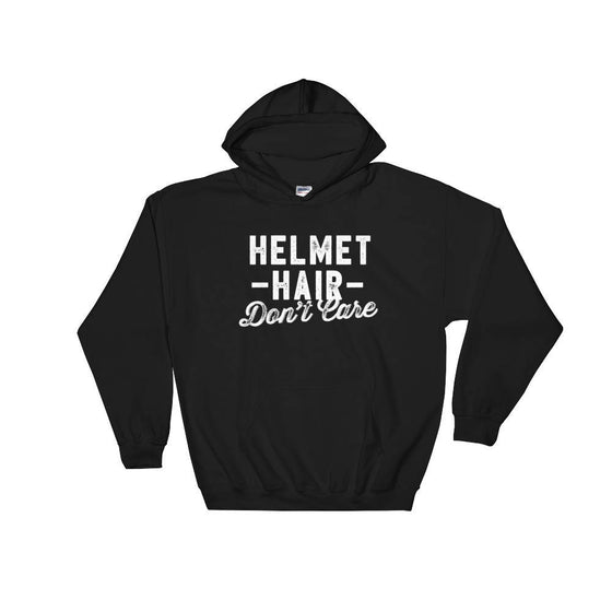 Helmet Hair Don't Care Hoodie - Motorcycle shirt, Biker chick, Horse riding shirt, Horse shirt, Equestrian shirt, Cycling shirt