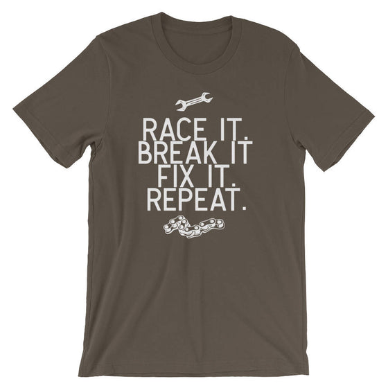 Race It Break It Fix It Repeat Unisex Shirt-Mechanic Shirts, Racing Shirts, Racing Car Shirts, Drag Racing Shirts, Car Shirts, Mechanic Gift