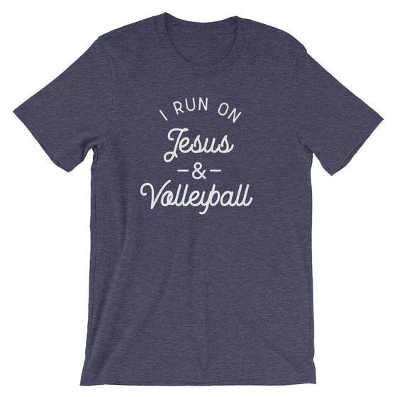 I Run On Jesus & Volleyball Unisex Shirt- Volleyball shirt, Volleyball Gift, Volleyball Player, Jesus Shirt, Christian Shirt, Easter Gift