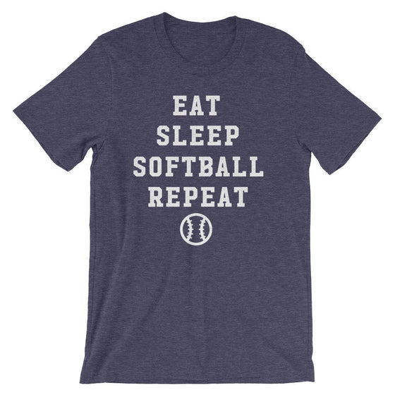 Eat Sleep Softball Repeat Unisex Shirt-Softball Life Gifts, Softball Mom Shirt, Team Softball Gift, Softball Coach Shirt, Softball Dad Gifts