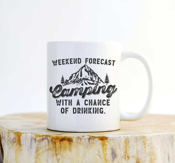 Camping With A Chance Of Drinking Mug -  Camping mug , happy camper mug , camping gift , camping mugs, campfire mug , travel mug