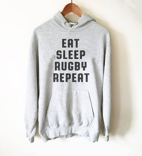 Eat Sleep Rugby Repeat Hoodie - Rugby Shirt, Rugby Gifts, Rugby League, Rugby Player, Rugby Team, Rugby Coach, Funny Rugby T-Shirt