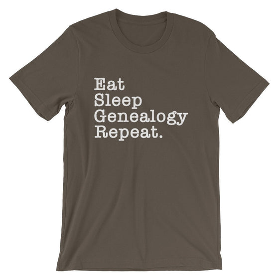 Eat Sleep Genealogy Repeat Unisex Shirt - Genealogy Shirt, Genealogy Gift, Genealogist Shirt, Genealogist Gift, Family Tree, Research Shirt