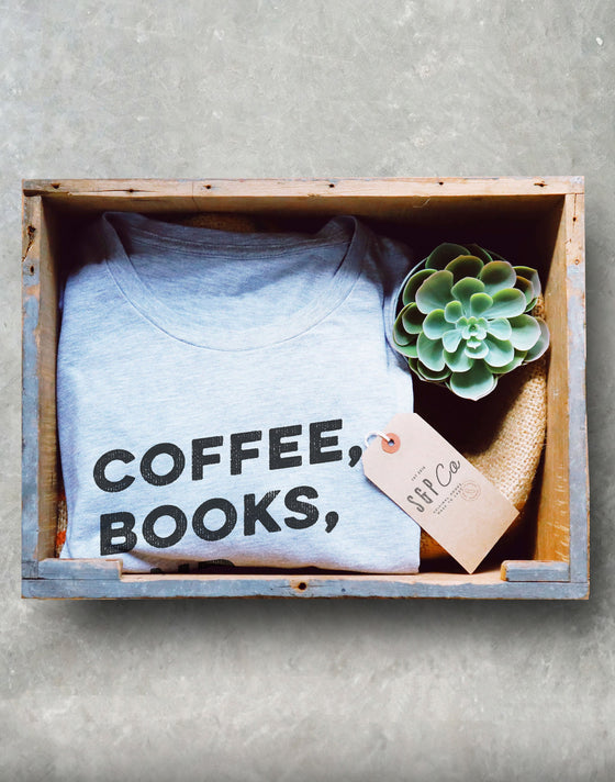 Coffee, Books & Oxford Commas Shirt - book lover t shirts - book lover gift - bookworm gift - bibliophile - Grammar Vocabulary Punctuation