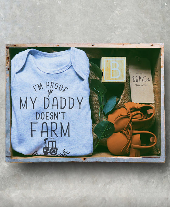 I'm Proof My Daddy Doesn't Farm All The Time Baby Bodysuit - Farmer Baby One Piece, Farming Baby, Pregnancy Announcement, 1st Birthday Gift