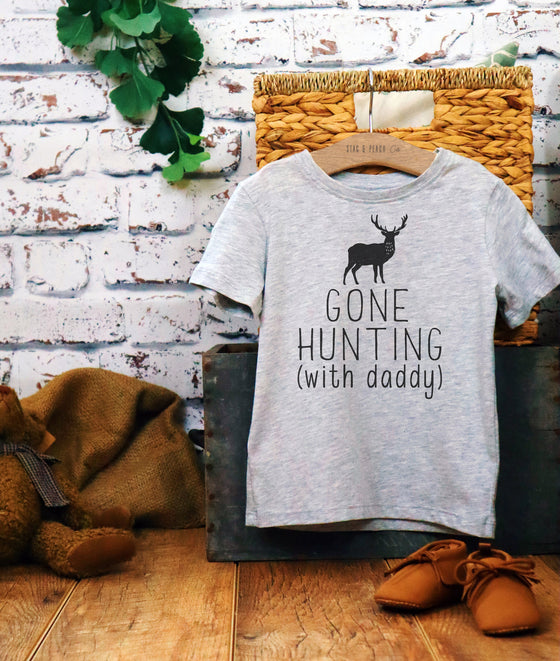 Gone Hunting With Daddy Kids Shirt-Hunting Gifts, Deer Print Shirt, Deer Hunting Shirt, Hunting Kids Clothes, Hunting Toddler Gift, Deer Tee
