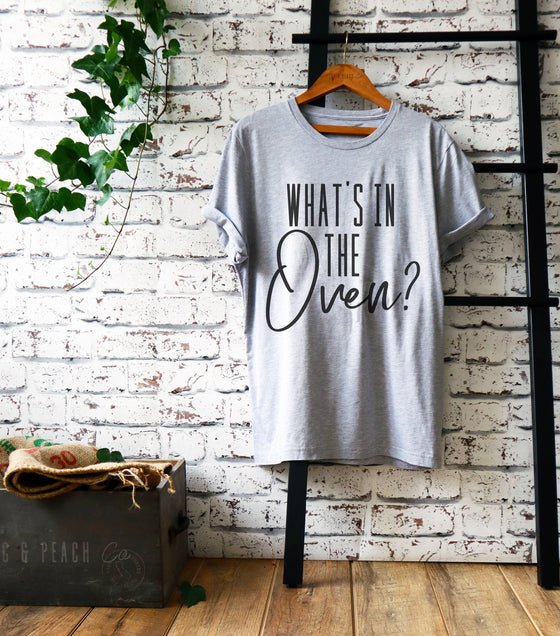 What's In The Oven Unisex Shirt - Pregnancy Announcement Shirt, Pregnancy Reveal Shirt, Gender Reveal Shirt, Gender Reveal Party Gift