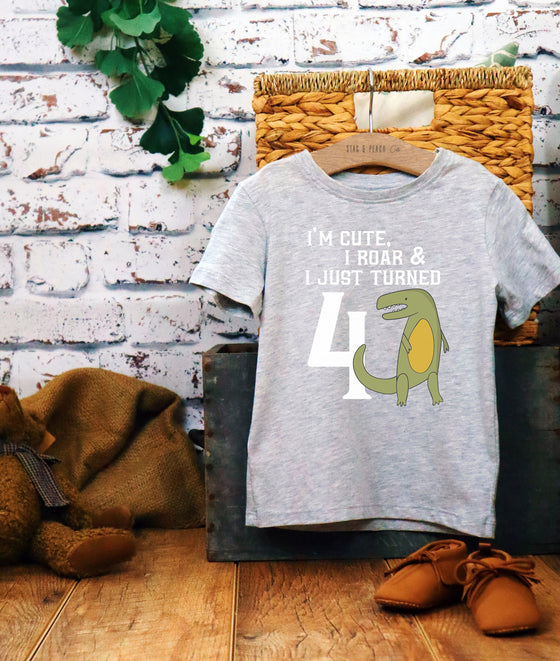 Cute 4th Birthday Dinosaur Kids T-Shirt - birthday shirt dinosaur - Toddler Top Shirt - dinosaur shirt- T-Rex birthday shirt -