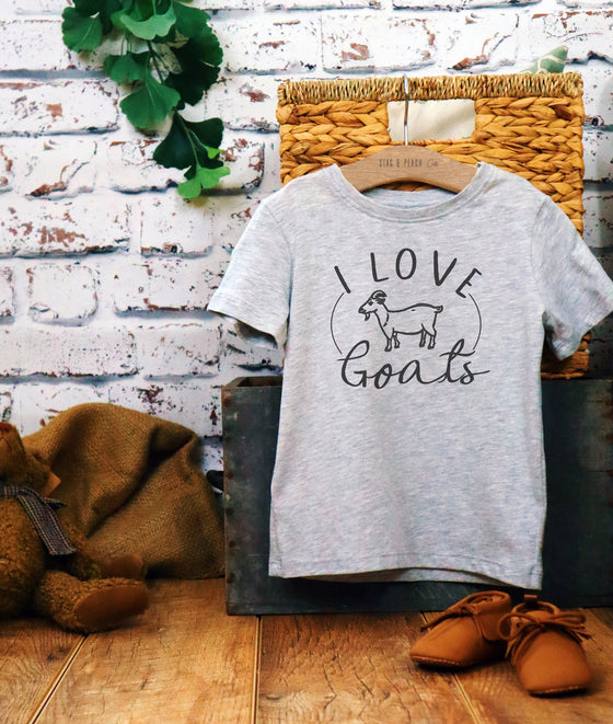 I Love Goats Kids Shirt - Goat Shirt, Goat Toddler Shirt, Farmer Shirt, Farmer Kid Shirt, Farm Birthday Party, Farm Tee, Farm Toddler Shirt