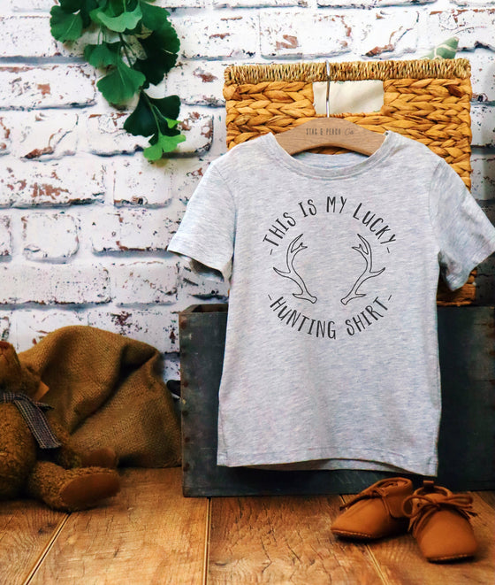 Lucky Hunting Shirt Kids Shirt - Hunting Gifts, Deer Print Shirt, Deer Hunting Shirt, Hunting Kids Clothes, Hunting Toddler Gift, Deer Tee