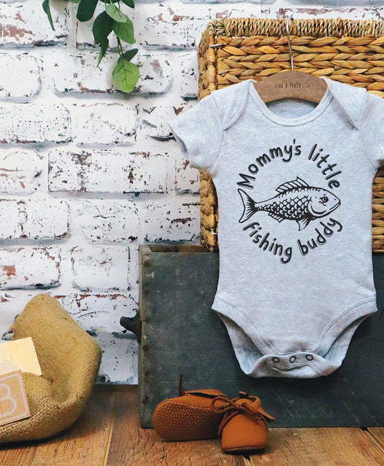 Mommy's Little Fishing Buddy Baby Bodysuit - Mommy and Me Birthday Outfits, Fishing Baby Shower, Nautical Nursery Gift, Expecting Mom Gift