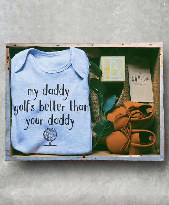 My Daddy Golfs Better Than Your Daddy Baby One Piece - Novelty Golf Outfit, Funny Golf Bodysuit, Golfer Baby Announcement, Fathers Day Gift