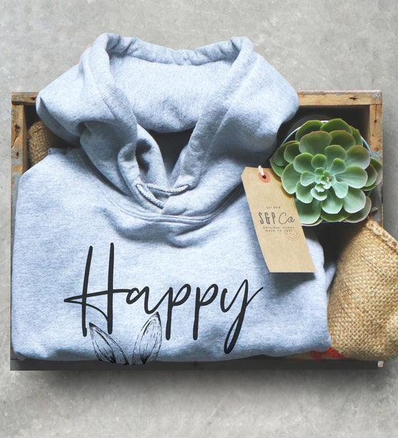 Happy Easter Unisex Hoodie - Bunny Lover Gift, Easter Outfit, Bunny Ears Shirt, Rabbit Lover Gift, Easter Basket Stuffer, Easter Gift Idea