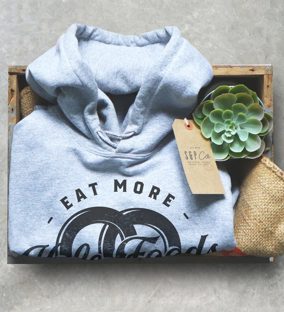 Eat More Hole Foods Unisex Hoodie - Pretzel Lover Shirt, Chicago Shirt, NYC Shirt, Baking Sweater, Snack Goals Shirt, Funny Food Lover Gift
