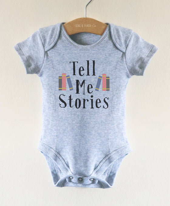Tell Me Stories Baby Bodysuit - Book Nerd Baby One Piece, Funny Baby Clothes, Baby Boy Gift, Newborn Photo Outfit, Reading Baby grow