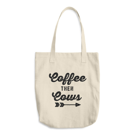 Coffee Then Cows Cotton Tote Bag
