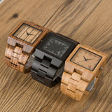 BOBO BIRD Timepieces Bamboo Wooden Men Watches Top Luxury Brand Rectangle Design Wood Band Watch for men