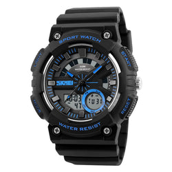 Men's Military Digital Sports Watch Dual Time Analog Quartz LED Display Electronic Wristwatches Alarm Stopwatch Waterproof Wrist Watch