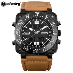 INFANTRY Military Watch Men LED Digital Quartz Mens Watches Top Brand Luxury Square Dual Time Army Big Leather Relogio Masculino