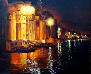 """Varanasi Ghats at Night"""