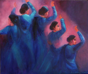 """Kathak Dancers - Gopis Dancing in the Dusk, awaiting Krishna's Return"""