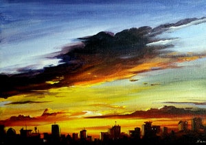 """Cloudy City Sunset"""