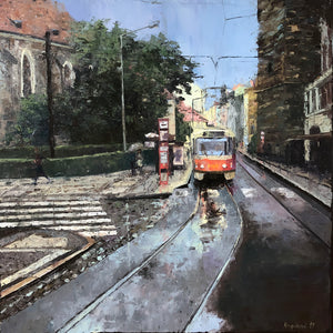 """Tram No.9 - Jindřišská Street in Prague"""