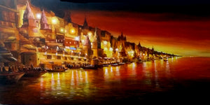 """Colorful Night Varanasi Ghats"""