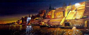 """Night Varanasi Ghats Landscape"""