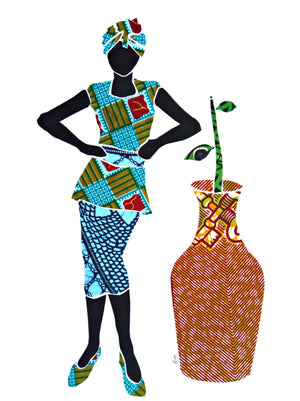"""African Fabric Collage 5"""