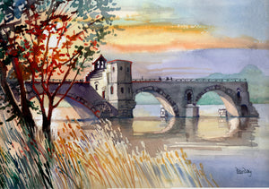 """The Bridge Across the Rhone at Avignon, Provence, France"""