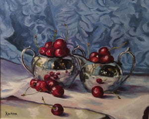 """Cherries and Silver"" - SOLD"