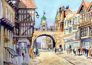 """Chester. Foregate St and Clock"""